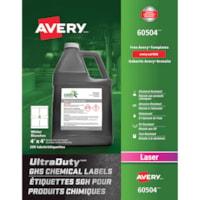 Étiquettes SGH blanches pour produits chimiques UltraDuty Avery