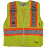 Viking 5-Point Tear Away Safety Vest, Bright Green, L/XL