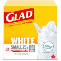 Glad White Garbage Bags, Febreze Fresh Clean Scent, Small 25 L, 100/PK