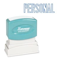 Xstamper Stock Stamp, PERSONAL, Blue Ink, 1/2
