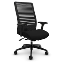 Global Loover High-Back Synchro-Tilter Office Chair, Echo Black, Terrace Fabric