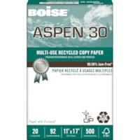 Boise Aspen 30 Multi-Use Recycled Copy Paper, 20 lb., Tabloid-Size, 500 Sheets/PK