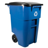 Rubbermaid Commercial Brute Roll-Out Container, Recycling Blue, 50 Gallon