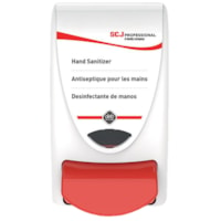 SC Johnson Professional Manual Push-Style Hand Sanitizer Dispenser, White/Red, 1 L Capacity
