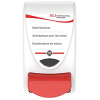 Distributeur de désinfectant pour les mains à poussoir SC Johnson Professional, blanc et rouge, capacité de 1 l