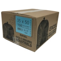 Sacs à ordures Eco II Manufacturing Inc., bleu, ultrarobuste, 35 po x 50 po, caisse de 100