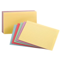 Oxford Printable Ruled Index Cards, Assorted Colours, 4