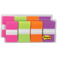 Post-it Standard Flags with On-The-Go Dispenser, Pink/Green/Orange/Purple, 1