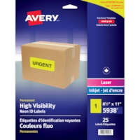 Avery 5938 Permanent High Visibility ID Laser/Inkjet Labels, Neon Yellow, 8 1/2