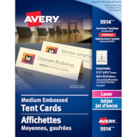 Avery Embossed Tent Cards, Ivory, 2 1/2