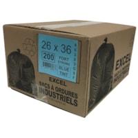 Sacs à ordures Eco II Manufacturing Inc., bleu, robuste, 26 po x 36 po, caisse de 200