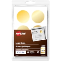 Avery 2353 Self-Adhesive Permanent Legal Seals, Gold, Round, 6 Labels/Sheet, 10 Sheets/PK