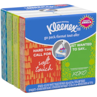 Kleenex 3-Ply Facial Tissue, On-The-Go Pocket Packs, 10 Sheets Each, 8/PK