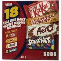 Tablettes de chocolat Nestlé variées, format ordinaire, emb. de 18 - résidents de l'Ontario et du Québec seulement