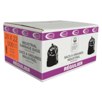Eco II Manufacturing Inc. Black Industrial Garbage Bags, Regular, 20