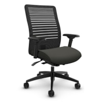 Global Loover Mid-Back Mesh-Back Weight Sensing Synchro-Tilter Chair, Ironwork Grey, Terrace Fabric