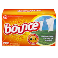 Bounce 4-in-1 Fabric Softener Dryer Sheets, Outdoor Fresh Scent, 200 Sheets/BX