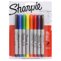 Sharpie Permanent Markers, Assorted Colours, Ultra Fine Tip, 8/PK