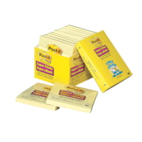 Post-it Super Sticky Notes Cabinet Packs, Lined, Canary Yellow, 4
