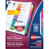 Intercalaires durables avec personnalisé table des matières classic multicolore Ready Index Avery