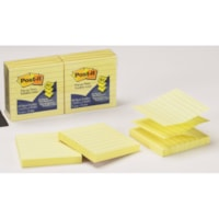 Post-it Pop-Up Notes, Lined, Canary Yellow, 3