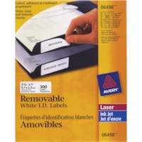 Étiquettes d'identification blanches amovibles pour imprimantes laser/jet d'encre Avery