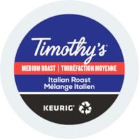 Timothy's Single-Serve Coffee K-Cup Pods, Italian Roast, 24/BX