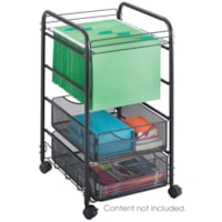 Safco Onyx Mesh Mobile Rolling File Cart With 2 Drawers, Black