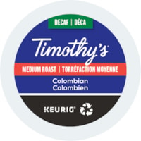 Timothy's Single-Serve Coffee K-Cup Pods, Decaffeinated Colombian, 24/BX
