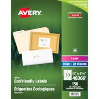 Étiquettes de classement blanches écologiques Avery 48366, blanc, 2/3 po x 3 7/16 po, 30 étiquettes par feuille, emballage de 5 feuilles