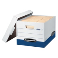 Bankers Box FastFold R-Kive Heavy-Duty Storage Boxes, White/Blue, Letter/Legal Size, 12/CT