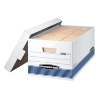 Bankers Box Medium-Duty Stor/file Storage Box, White/Blue, Letter-size (8 1/2