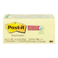 Post-it Super Sticky Notes, Unlined, Canary Yellow, 2