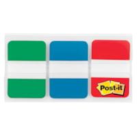 Onglets durables Post-it, vert/bleu/rouge, 1 po x 1/2 po, 22 onglets de chaque couleur, emb. de 66