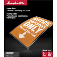 Swingline GBC UltraClear Letter-Size Thermal Laminating Pouches, 3 mil, Pack of 50
