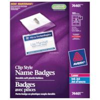 Avery Garment-Friendly Clip-Style Name Badge Kit, White, 2 1/4
