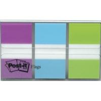 Languettes standard avec distributeur pratique Post-it, bleu/mauve/vert, 1 po x 1 7/10 po, 20 languettes de chaque couleur, emb. de 3 couleurs