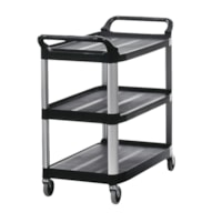 Rubbermaid Commercial Xtra 4091 3-Shelf Open-Sided Utility Cart, Black, 300 lb. Capacity
