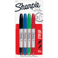 Sharpie Twin-Tip Permanent Marker, Assorted Colours, Fine and Ultra-Fine Tip, 4/PK