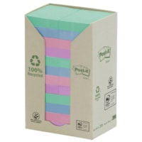 Post-it 100% Recycled Notes Tower Pack, Assorted Colours, 1 1/2