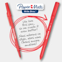Paper Mate Ballpoint Stick Pens, Red, Medium 1.0 mm