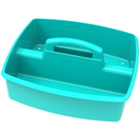 Storex Large 2-Compartment Storage/Organizing Caddy, Teal