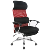 TygerClaw Ergonomic Office Chair with Headrest, High-Back, Black and Red, Mesh