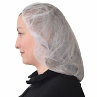 Globe Commercial Products Non-Woven Polypropylene Bouffant Cap/Hairnet, White, 100/PK