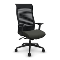Global Loover High-Back Office Chair With Weight-Sensing Synchro Tilter, Ironwork Grey, Terrace Fabric