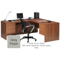 Bureau en L à caisson double Genoa Global, gris, 66po x 30po x 29po