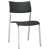Offices To Go Dori 2 Stacking Armless Chair, Black Polypropylene Seat and Back