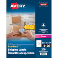 Avery 5126 Large Shipping Labels With TrueBlock Technology, White, 8 1/2