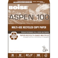 Papier recyclé de choix à usages multiples Aspen 100 Boise, 20 lb, Format Lettre, rame