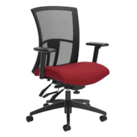 Global Vion Mid-Back Multi-Tilter Chair, Candy Apple Red Imprint Fabric Seat/Black Mesh Back